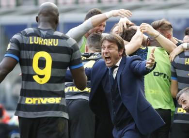 Antonio Conte celebrates after Inter's victory.