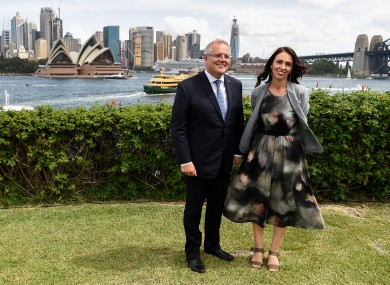 Australian Prime Minister Scott Morrison and New Zealand Prime Minister Jacinda Ardern pose for a photograph at Admiralty House in Sydney, February 2020.