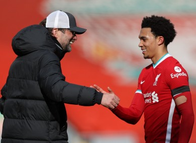 Klopp with Alexander-Arnold after the game.