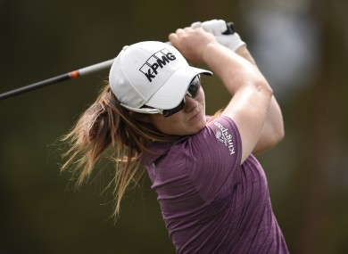 Leona Maguire tees off on the sixth hole during the first round of the ANA Inspiration golf tournament,