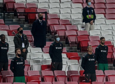 The Portuguese subs before a Nations League game.