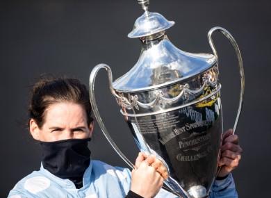Rachel Blackmore celebrates winning the Champion Hurdle with Honeysuckle.