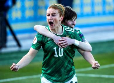 Northern Ireland's Rachel Furness celebrates scoring a goal.
