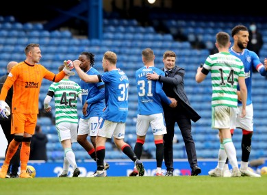 Rangers celebrate at the final whistle.