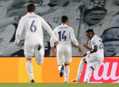 Real Madrid's Jose Vinicius Junior (right) celebrates scoring.
