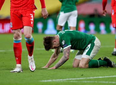 James Collins despairs during Ireland's loss to Luxembourg.