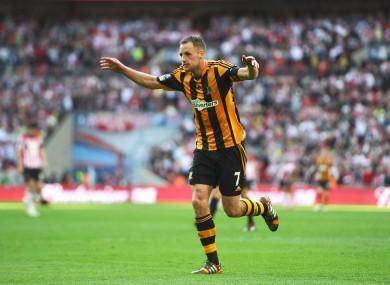 Celebrating my goal in Hull's FA Cup semi-final win.