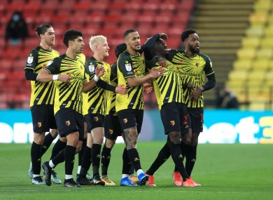 Watford celebrate their second goal.