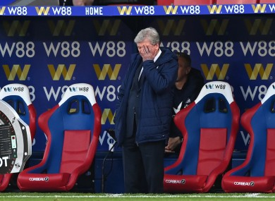 Roy Hodgson reacts during the game.