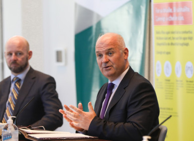 CMO Dr Tony Holohan and Professor Philip Nolan at a press briefing last month.