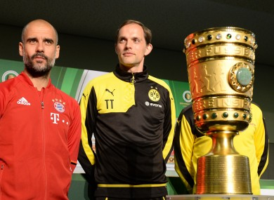 Guardiola and Tuchel ahead of the 2016 German Cup final.