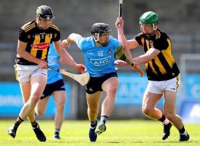 Dublin's Donal Burke with Darragh Corcoran and Martin Keoghan of Kilkenny.