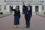 Democratic Unionist Party leader Edwin Poots and DUP Deputy Leader Paula Bradley at Stormont, Belfast after they won their respective elections. Friday May 14, 2021.