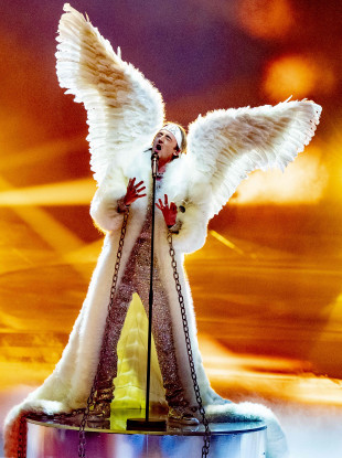 TIX from Norway with the song Fallen Angel during the dress rehearsal for the Eurovision Song Contest Final yesterday