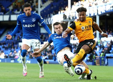 Seamus Coleman in action for Everton against Wolves.