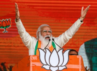 Indian Prime Minister Narendra Modi addresses a public rally ahead of West Bengal state elections in Kolkata, India.