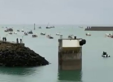 French fishing vessels staging a protest outside the harbour at St Helier, Jersey