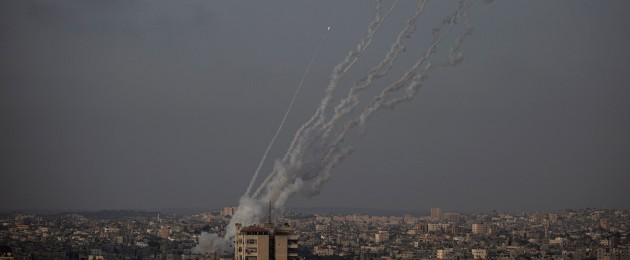 Rockets are launched from the Gaza Strip towards Israel