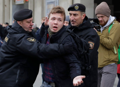 Raman Pratasevich is arrested during an earlier protest.