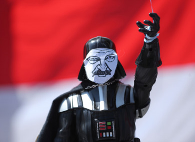 A figure of Darth Vader with the face of Belarusian President Alexander Lukashenko