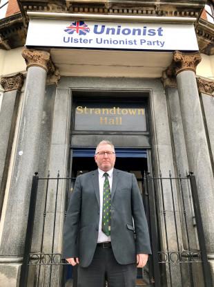 New UUP leader Doug Beattie outside Ulster Unionist headquarters on the Belmont Road, Belfast