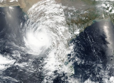 A satellite image released NASA shows Cyclone Tauktae at western India