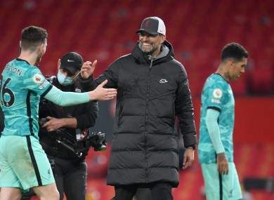 Liverpool manager Jurgen Klopp with Andrew Robertson after the Premier League match.