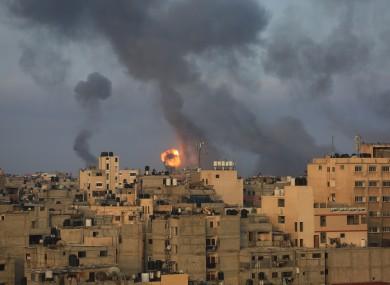 Explosions following Israeli air strikes in Gaza