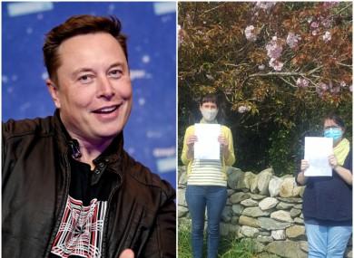 Tesla CEO Elon Musk; Emma Fitzpatrick and Lesley Cox.