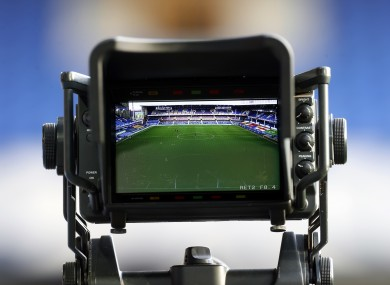 A general view of a TV camera at a Premier League match.