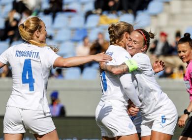 Iceland's Agla Maria Albertsdottir celebrates after scoring a goal.