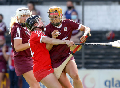 Cork's Amy O'Connor and Sarah Dervan of Galway.