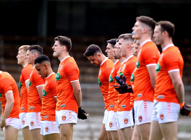 Armagh stand for the national anthem before their tie against Monaghan.