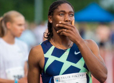 Caster Semenya holds her hand over her mouth. The two-time 800-metre Olympic champion from South Africa has once again missed out on qualifying for the Summer Games in Tokyo.