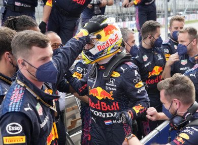 Max Verstappen celebrates after his win.