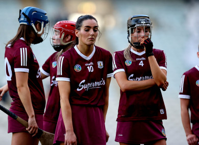 Disappointed Galway players look on after losing the Division 1 final.