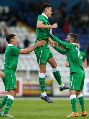 Conor Wilkinson is congratulated by Josh Cullen and Jack Byrne after scoring for Ireland in an U21 international against Lithuania.