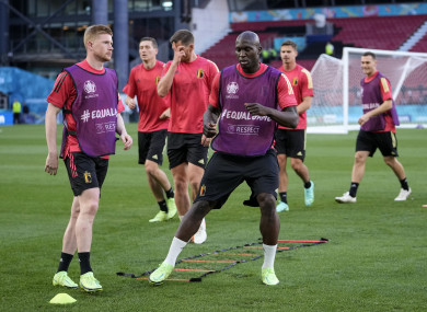 Belgium players during a training session in Copenhagen.