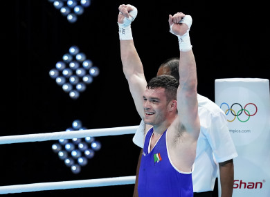 Ireland's Emmet Brennan celebrates qualifying for the Tokyo Olympics after winning the box-off.