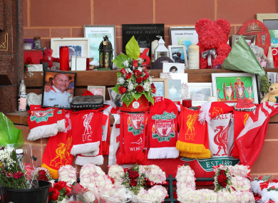 Tributes at the Hillsborough Memorial outside Anfield stadium in Liverpool
