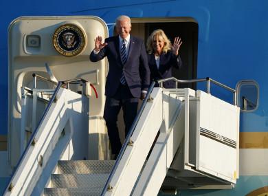 US President Joe Biden and First Lady Jill Biden arrive on Air Force One at RAF Mildenhall.