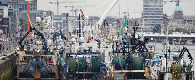 Fishing trawlers protesting about Brexit cuts to fishing quotas on the River Liffey in Dublin today.