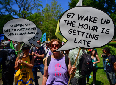 Protestors take part in an XR protest in Kimberley Park in Falmouth, during the G7 summit in Cornwall.