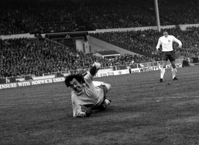 Gordon Banks dives for a shot from Uli Hoeness.