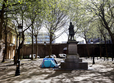 Tents near government offices on Kildare Street in Dublin