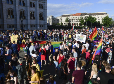 An LGBT+ rights demonstration outside the Hungarian parliament building on 14 June