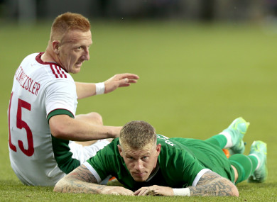 James McClean in action against Hungary.