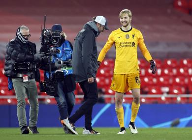 Jurgen Klopp approaches Caoimhín Kelleher after the Cork man's impressive Champions League debut against Ajax.