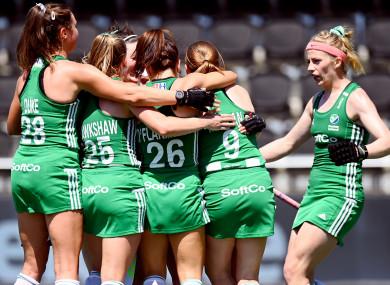 Ireland's Naomi Carroll celebrates scoring.