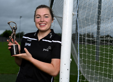 PwC GPA Women's Player of the Month for May for camogie, Gráinne Egan (Offaly) with her award today at her home club Tullamore GAA